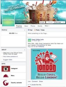 costa coffee facebook page